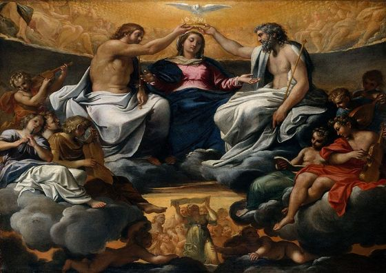 Carracci, Annibale: The Coronation of the Virgin. Fine Art Print/Poster. Sizes: A4/A3/A2/A1 (002052)